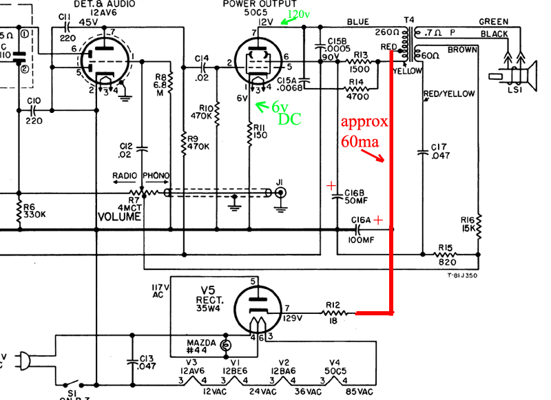 5 Tube Radio Schematic With 35w4 Free Wiring Diagram For